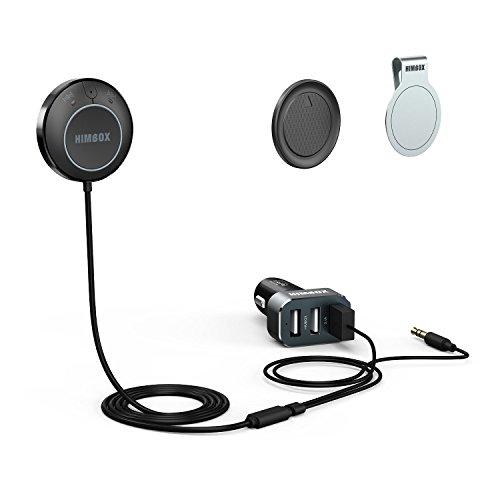 [APT-xをサポート] iClever® Himbox HB01 プラスBluetooth 4.0ハンズフリーカーキット 3.5 mm Aux入力ジャック、マルチポイント·アクセス、便利なシリ/ボイスアクティベーション、3ポートUSB充電器、マグネットベースが付き