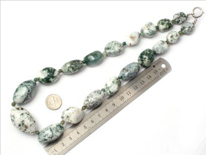 16--30mm graduated gemstone moss agate beads strand necklace 18