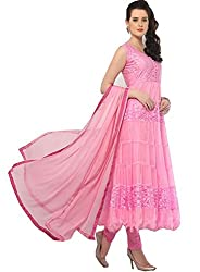Divyaemporio Women'S Pink Faux Georgette Brasso Salwar Suits Dress Material