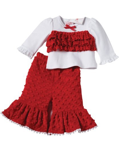 Mud Pie Baby or Toddler Girls Santa's Helper Minky Pant Outfit (12-18 Months)