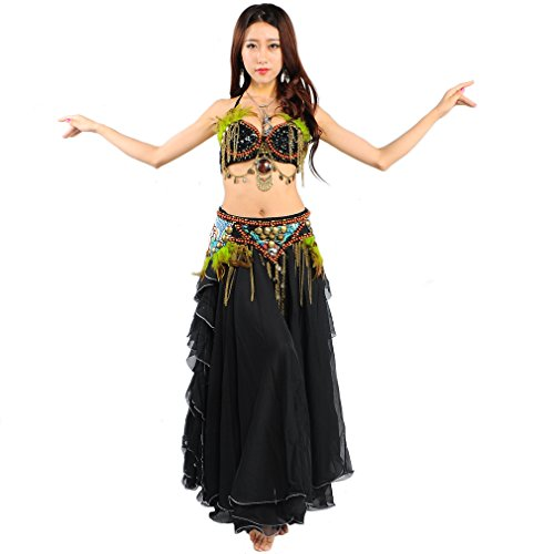 UPRIVER Belly Dance Costume Egypt Wild Tribes Suit Black 3 Sizes Available
