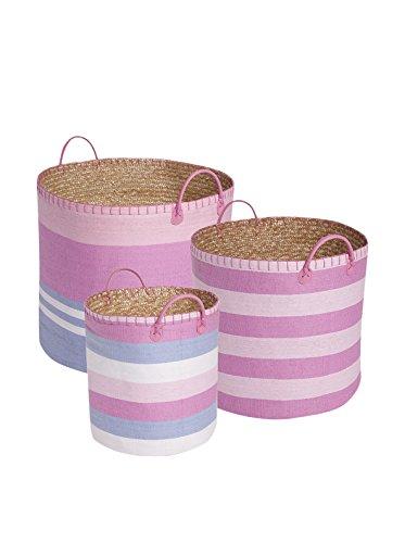 JoJo Maman Bebe Pastel Pink Stripe Basket Set - 1