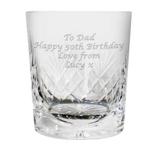 Engraved Cut Crystal Whisky Tumbler