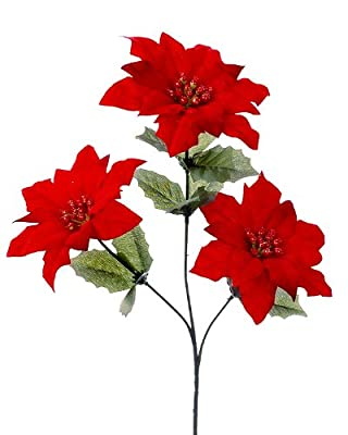 Luxury Red Flocked Christmas Poinsettia Spray (length: 60cm)