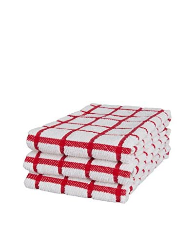 KAF Home Set of 3 Grid Terry Kitchen Towels, Red