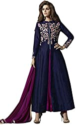 VIHA Women's Navy Embroidered Banglore Silk Unstitched Dress Materials
