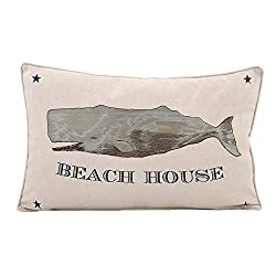 Beach House Pillow With Embroidered Whale Design Linen and Cotton Pillow-Waterside Collection Home Decor