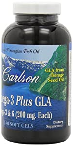 Carlson Labs Omega-3 Plus Gla Mineral Supplement Softgels, 180 Count