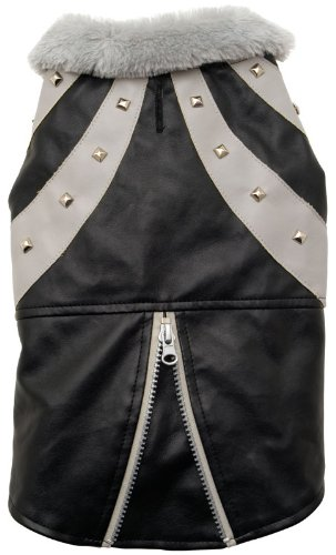 Dogit Faux Leather Biker Dog Jacket, Medium, Black