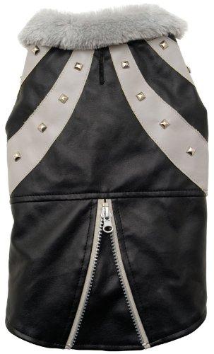 Dogit Faux Leather Biker Dog Jacket, Medium, Black