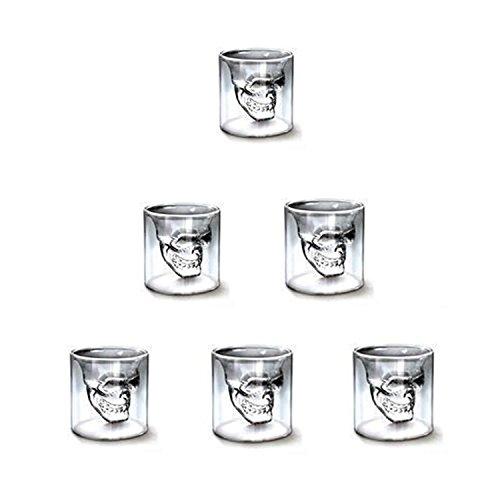 Amzdeal® 6 Verres à Vin Skull Head75ml Forme de Crâne Verre Vodka /Whisky cristal transparent