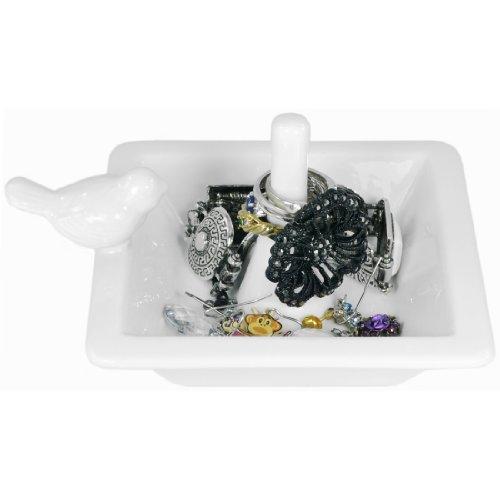 Classic white bird bath ceramic ring holder jewelry dish for Bathroom jewelry holder