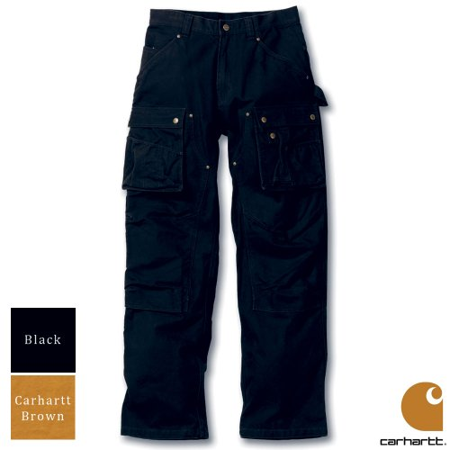 Carhartt Workwear Duck Multi Pocket Tech Mens Trousers Black Waist 30 Inch - Leg 34 Inch