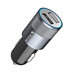 """WireSwipeâ""""¢ Mini Dual USB Car Charger 5V 2.1Amp Universal Ports, Smart Power Supply iPods, iPhones, Cell Phones & Tablet, Android Devices, Portable Cigarette Lighter Plug, Mobile Travel Charging Station 12V Input (Multi Colored) - 1 Year Warranty"""