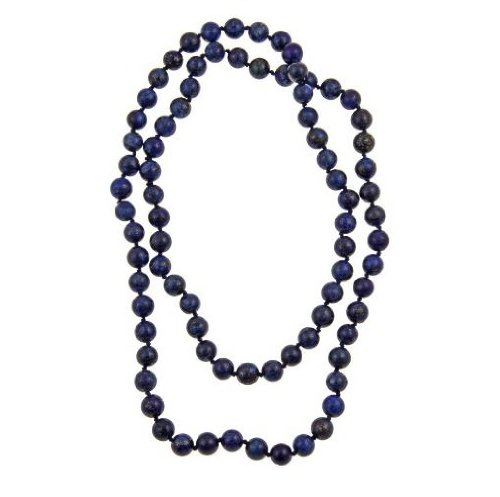 Pearlz Ocean Blue Lapis Lazuli Endless Knotted Necklace 36-inches Long