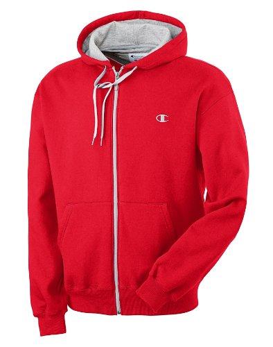 Champion Eco Fleece Full-Zip Men's Hoodie - Small, Crimson