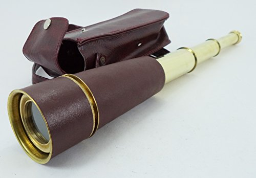 Leather Encased Nautical Vintage Spyglass Telescope Collectible Nautical & Bag