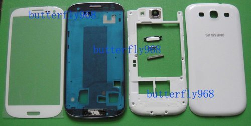 Samsung Galaxy S3 SIII GT-i9300 i9300 Full Cover Housing + Front Glass Screen lens White Mobile Phone Repair Part Replacement from samsung