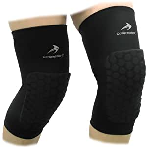 Padded Knee Sleeves (1 Pair/ Black - 2XL) Protective Compression Wear - Men & Women Basketball Brace Support - Best to Immobilize, Strap & Wrap Knee for Volleyball, Football, Contact Sports