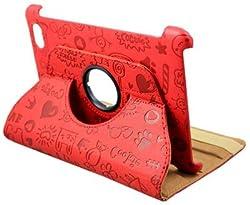 KolorFish iFun Cartoon Love Prints Leather 360 Degree Rotate Case Cover for Apple iPad 2, iPad 3, iPad 4 (Red)