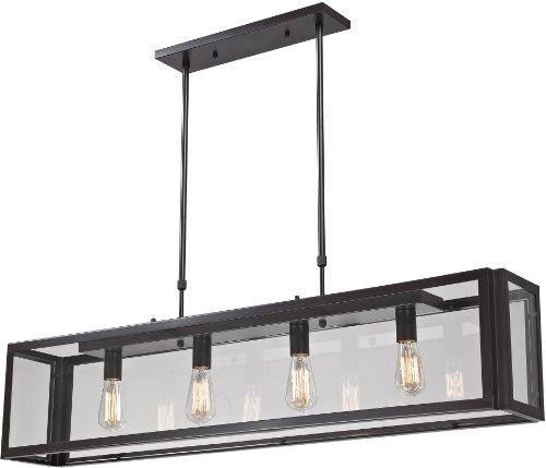 B00781JC1C Elk Lighting 63023-4 47 by 51-Inch Parameters 4-Light Clear Pendant with Glass Shade, Bronze Finish