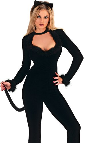 Sexy Halloween Costume Kitten Black Catwoman Cat Suit