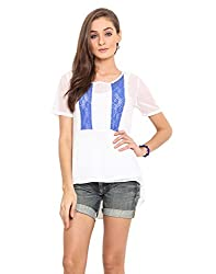 Instacrush White Coloured Polyester Georgette Fashion Top Large