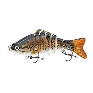 "Lixada 10cm/4"" 15.5g Bionic Multi Jointed Fishing Lure SUN-FISH Lifelike Hard Bait Bass Yellow Perch Walleye Pike Muskie Roach Trout Swimbait"