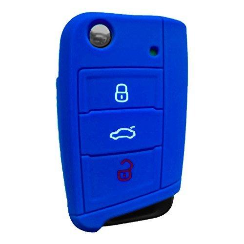 RotSale-1x-Blau-Autoschlssel-Golf-7-VII-MK7-Neu-Polo-Silikon-Schutzhlle-Tasche-Gehuse-3-Tasten-Fernbedingung-Klappschlssel