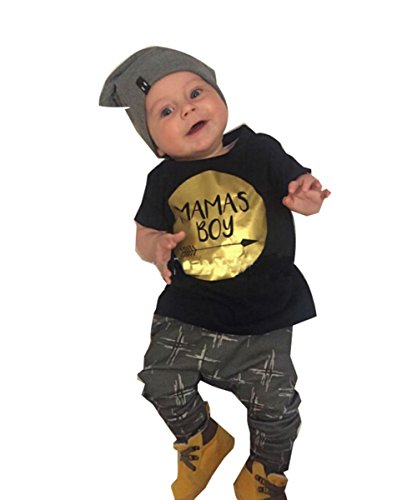 Summer Baby Boy Cotton Letters Printed T-shirt+pants 2pcs Clothes Set
