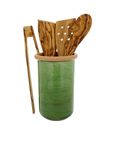 COLI 5-Piece Stoneware & Olive Wood Utensil Set, Cilantro Green