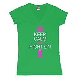 Keep Calm And Fight On Support Juniors V-Neck T-Shirt
