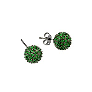 10mm Black Rhodium Plated 925 Sterling Silver Micro Pave Set Green Cubic Zirconica CZ Round Ball Push-Back Earrings
