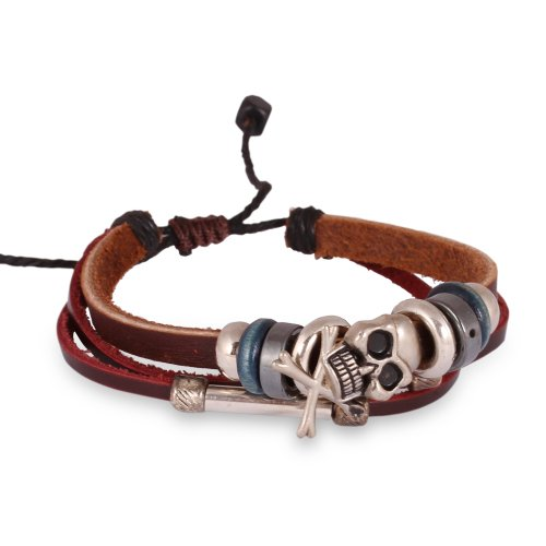 Fashion Plaza Mens Adjustable Vintage Leather Skull Bracelet Triple Strands Navy Blue Beads L126