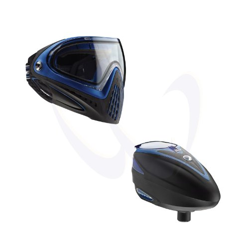 Dye I4 Paintball Goggles Mask Blue + Rotor Loader Hopper Blue