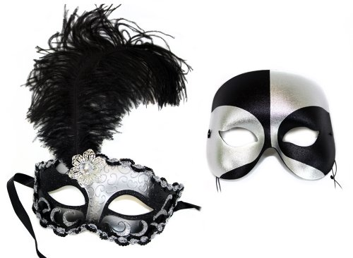 Deco Lady-Black Silver Mask Masquerade Masks for a Couple