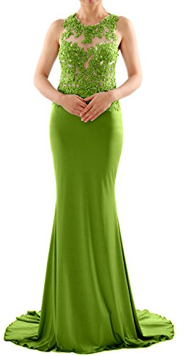 MACloth Donna Sirena lunga pizzo maniche lunghe vestito da ballo formale partito abito da sera Olive Green 34