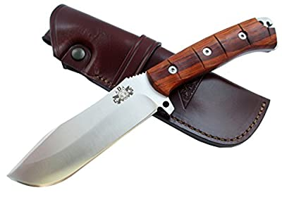 TRS-ONE Outdoor / Survival / Hunting Knife - Cocobolo wood handle, Stainless Steel MOVA-58 with genuine leather sheath. Made in Spain. by F. Knives Spain