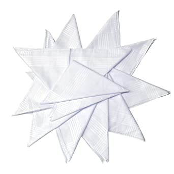 24 mouchoirs pour hommes/gentlemen blancs unis avec bordures satin, super qualité, 100% coton