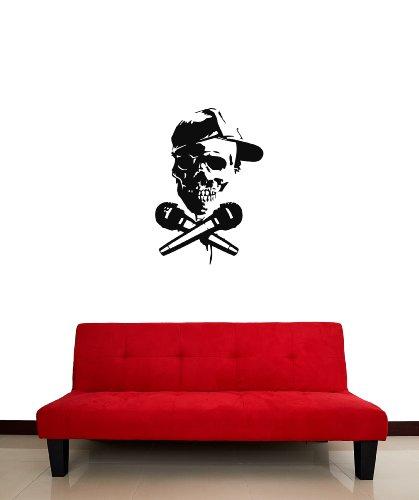 Adesivi da Parete in Vinile DJ skeleton skull microfono musica partito i870