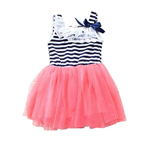 Wexinbuy Toddler Girl Lace Bowknot Stripes Tutu Tulle Braces Dress