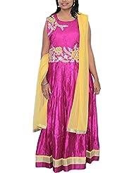 Dream Girls Boutique Women's Chanderi Silk Anarkali (Magenta Pink, XL)