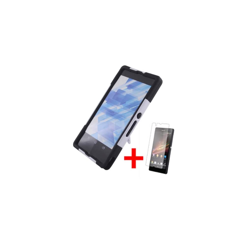 SONY XPERIA Z WHITE BLACK HYBRID T KICKSTAND COVER HARD GEL CASE + SCREEN PROTECTOR from [ACCESSORY ARENA]