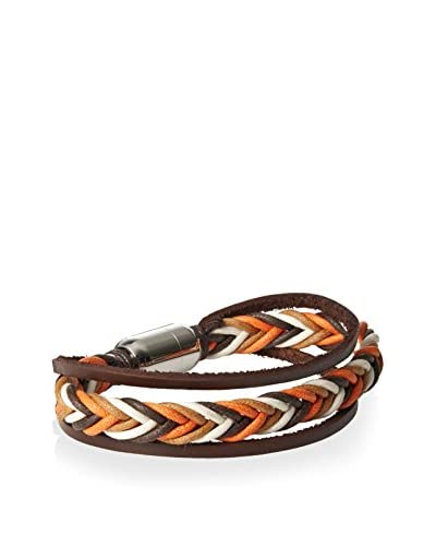 Stephen Oliver Orange and Brown Woven Bracelet