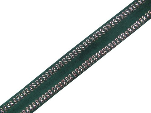 New 4.5 Y Green Velvet Border Sequin Ribbon Trim Sewing