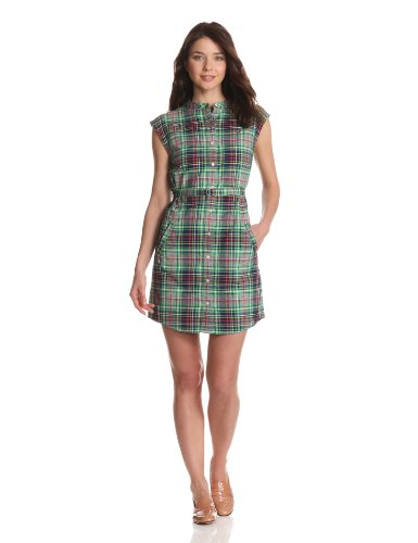 Fred Perry Women's Granddad Collar Madras Shirtdress, Shamrock, 6