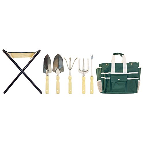 Gardenhome Folding Stool With Tool Bag And 5 Tools Garden