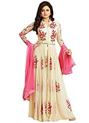 AnK Offer New Arrival Women's Off White Georgette Partywear Wedding Semi Stitched Anarkali Style Salwar Suit