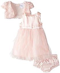 Nannette Baby Girls\' 3 Piece Chiffon Mesh Dress Shrug and Panty, Pink, 12 Months