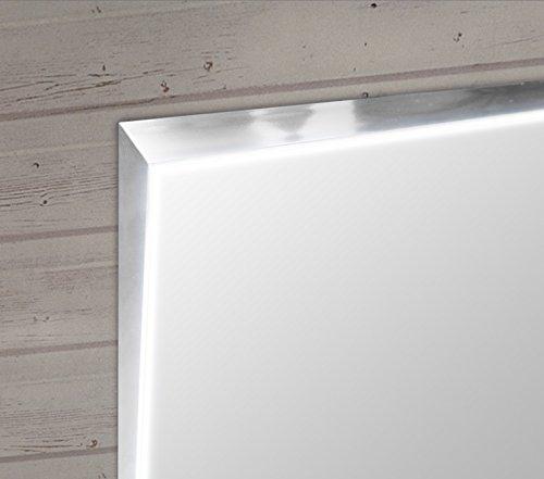Specchio da bagno con luce a LED perimetrale interna e profilo in alluminio Stella(Verticale L70xH80 cm), Made in Italy